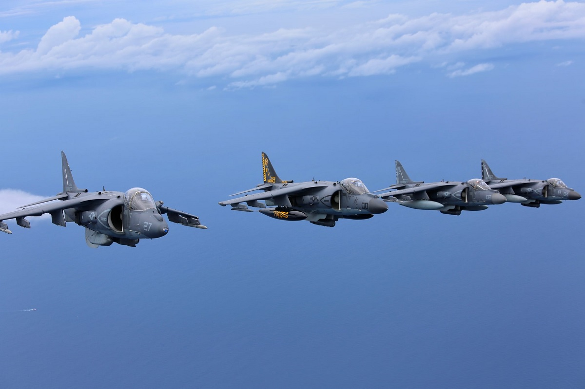USMC East Coast Harrier squadrons gather together for a few last group shots before transitioning to the F-35B