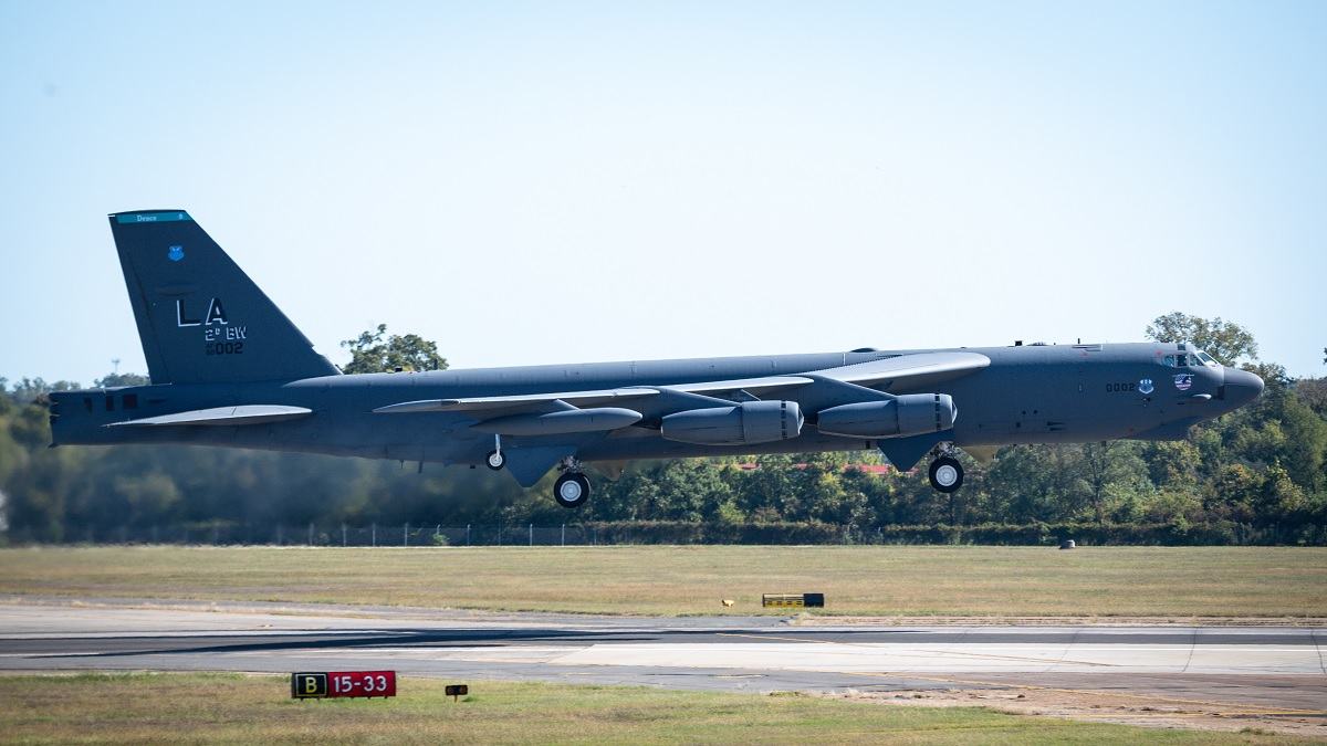 B-52 strategic bombers conduct impressive elephant walk at Barksdale AFB
