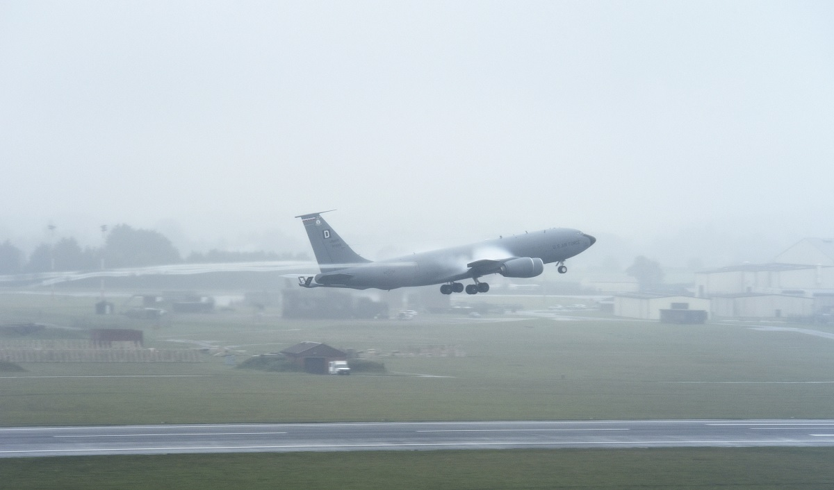 USAF KC-135 Stratotankers elephant walk and mass launch at RAF Mildenhall under heavy rain