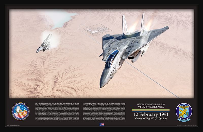 The thrilling story of an F-14 Tomcat TARPS mission flown over Iraqi weapons of mass destruction plant of Al Qa'im during Operation Desert Storm (Captured in a Beautiful Artwork)