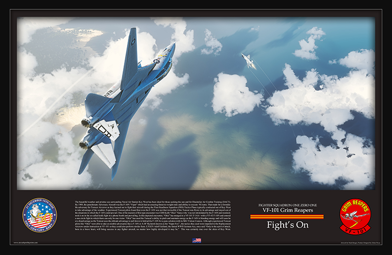 The Story of how US Navy F-14 Tomcat crews learned to score simulated Gun Kills against the lethal 9G capable F-16N (Captured in a Beautiful Artwork)