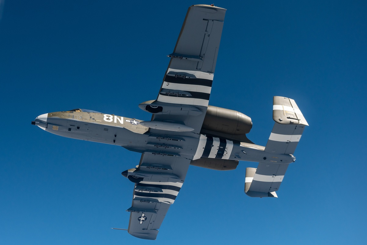 First air-to-air sortie for A-10 Warthog with new World War II heritage paint scheme of P-47 Thunderbolt