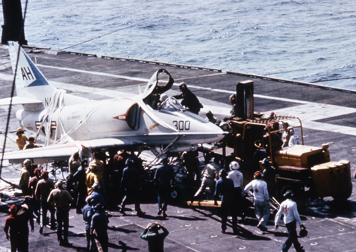 Setting the record straight: The photo of the A-4 involved in this barricade landing does not show the Skyhawk then flown by John McCain when he was shot down over Hanoi