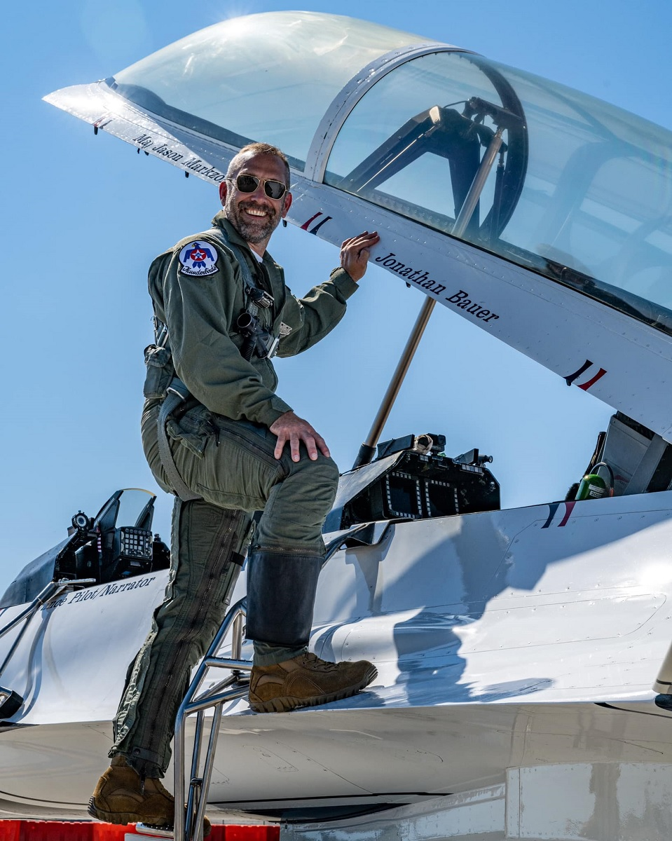 Thunderbirds honored man who jumped off bridge to save 18-month-old girl with a flight in their F-16D
