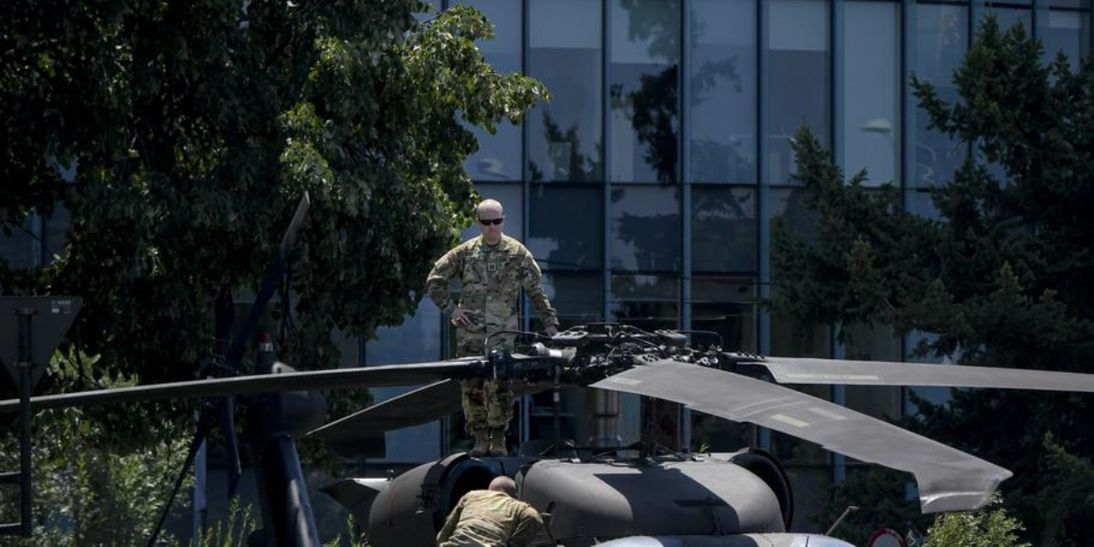 US Army Black Hawk helicopter makes emergency landing in downtown Bucharest, Romania's capital